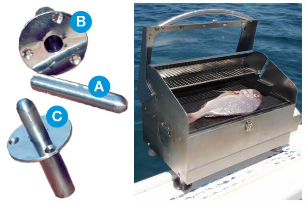 Mount flush deck marine barbecues